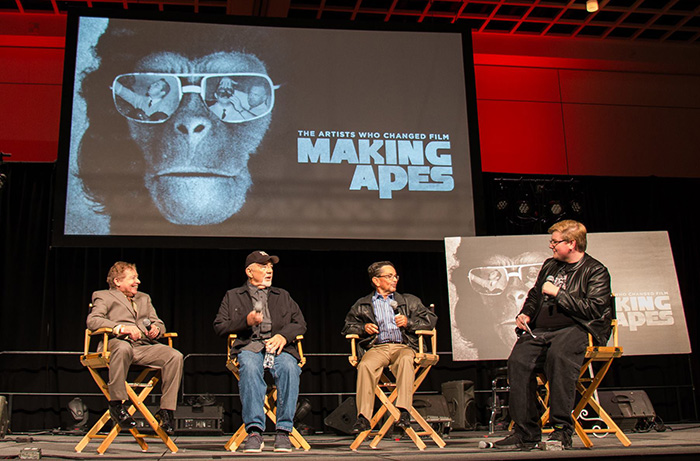 7At Monsterpalooza 2017: (L to R) Lou Wagner, makeup effects artist Tom Burman and Bobby Porter discuss MAKING APES: THE ARTISTS WHO CHANGED FILM with director by William Conlin. Photo courtesy of Making Apes on Facebook.
