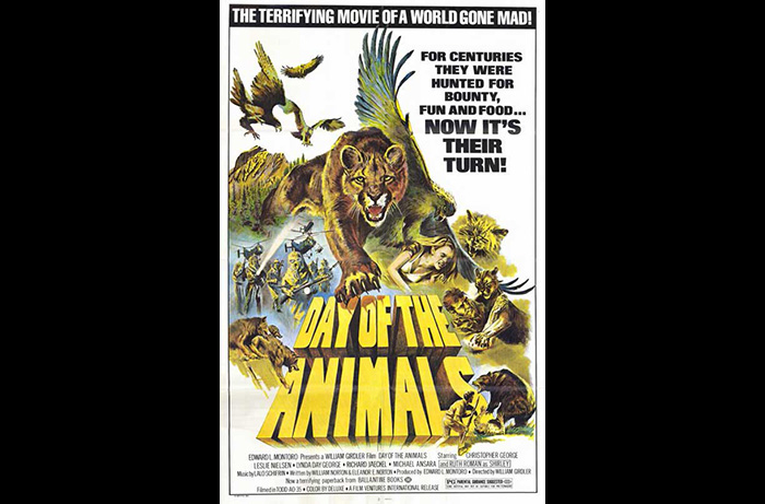 Poster for the animal disaster film DAY OF THE ANIMALS (1977) starring Leslie Nielsen, Christopher George, and Bobby Porter.