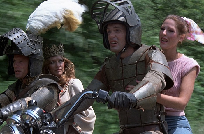 Pat Tallman in her first feature film role, cast as Julie (far right) in George Romero's 1981 film KNIGHTRIDERS.