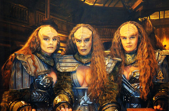 Pat Tillman easily spanned several sci-fi series, seen here on the far left in Klingon makeup and costume for a STAR TREK episode.