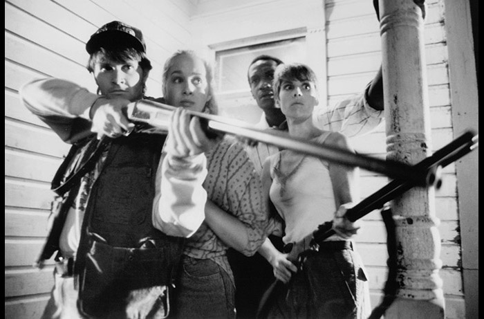 (L to R): William Butler, Katie Finneran, Tony Todd and Patricia Tallman in NIGHT OF THE LIVING DEAD (1990).