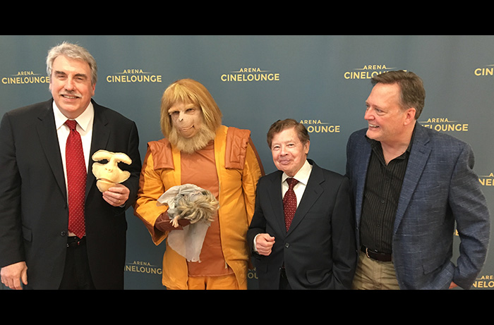 Everyone is going ape on the red carpet at the Damn Dirty Geeks' 50th anniversary screening and live podcast for PLANET OF THE APES: (L to R) makeup artist John Goodwin, Jeff Barkley as Dr. Zaius, actor Lou Wagner, and Frank Dietz. April 7, 2018.
