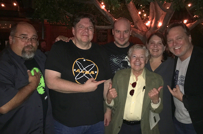 Photo of the DDG special Planet of the Apes Day event in 2018: (L to R) Frank Woodward, Scott Weitz, Jack Bennett, Lou Wagner, Trish Geiger and Frank Dietz. April 2, 2016.