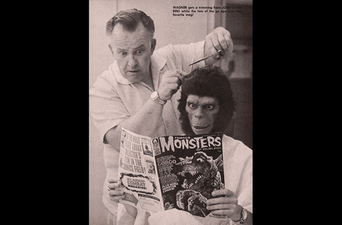 Makeup master John Chambes and Lou Wagner being transormed into Lucius get an eyeful of the latest Famous Monsters of FIlmland issue, during filming of PLANET OF THE APES.