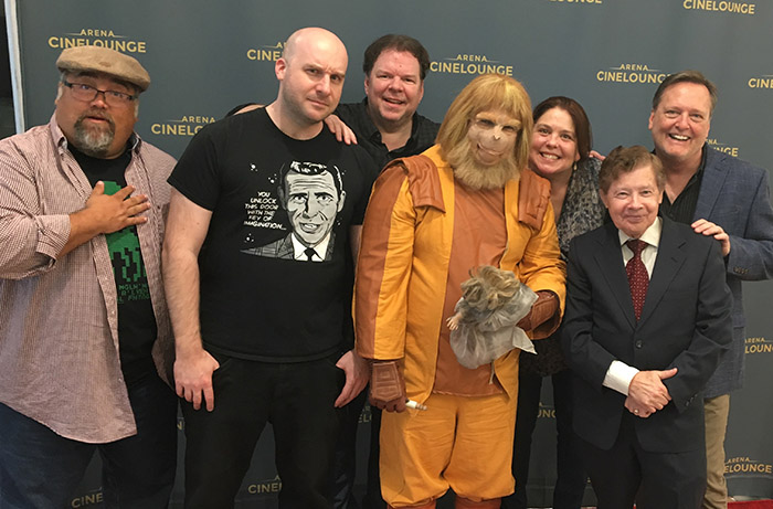 The Damn Dirty Geeks on the red carpet celebrating the PLANET OF THE APES 50th Anniversary with a double feature screening in Hollywood: (L to R) Frank Woodward, Jack Bennett, Scott Weitz, Jeff Barkley (Zaius), Trish Geiger, Lou Wagner and Frank Dietz. April 7, 2018.