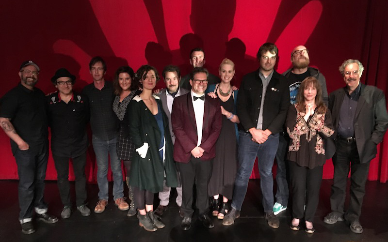 The cast of Dana Gould's live stage reading of PLAN 9 FROM OUTER SPACE at the Largo in LA, featuring Paul F. Tompkins, Laraine Newman, Deborah Baker Jr., Janet Varney, Jonah Ray and more.