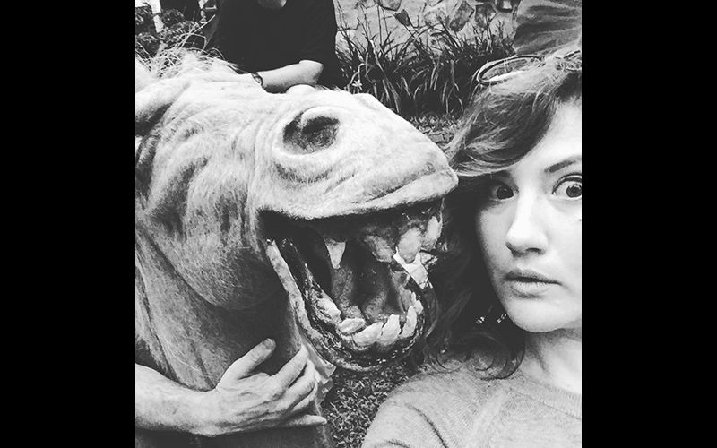 Deborah Baker Jr. poses with the legendary werepony on the set of STAN AGAINST EVIL.
