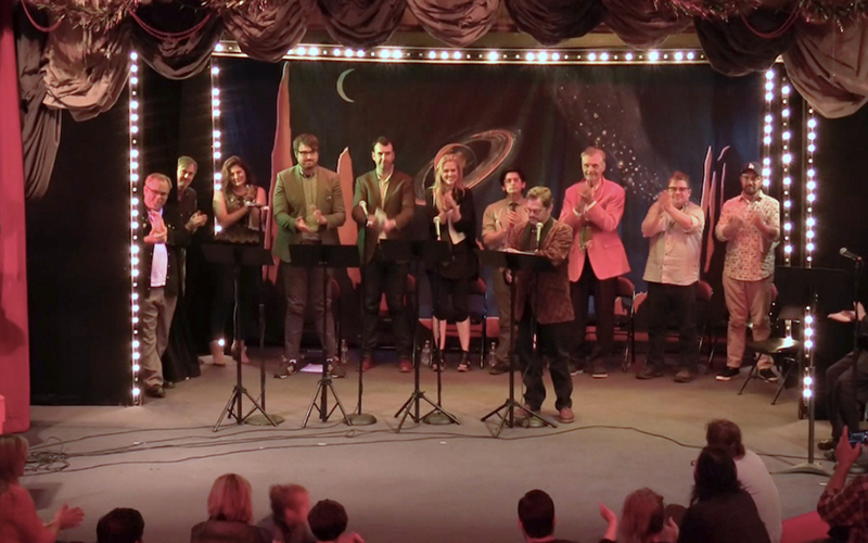 The cast of Dana Gould's live stage reading of PLAN 9 FROM OUTER SPACE, featuring Patton Oswalt, Deborah Baker Jr., Jonah Ray and Janet Varney.