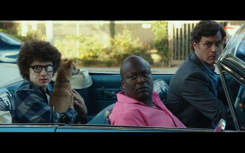 (L to R) Julian Feder, Roger, Tituss Burgess and Tom Everett Scott in the upcoming film I HATE KIDS, co-written by DDG Frank Dietz