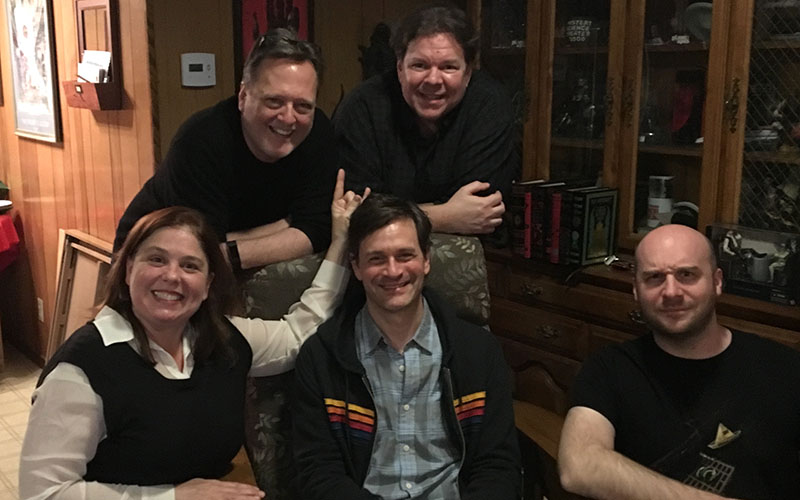 The Damn Dirty Geeks have Tom Everett Scott surrounded after our podcast recording!