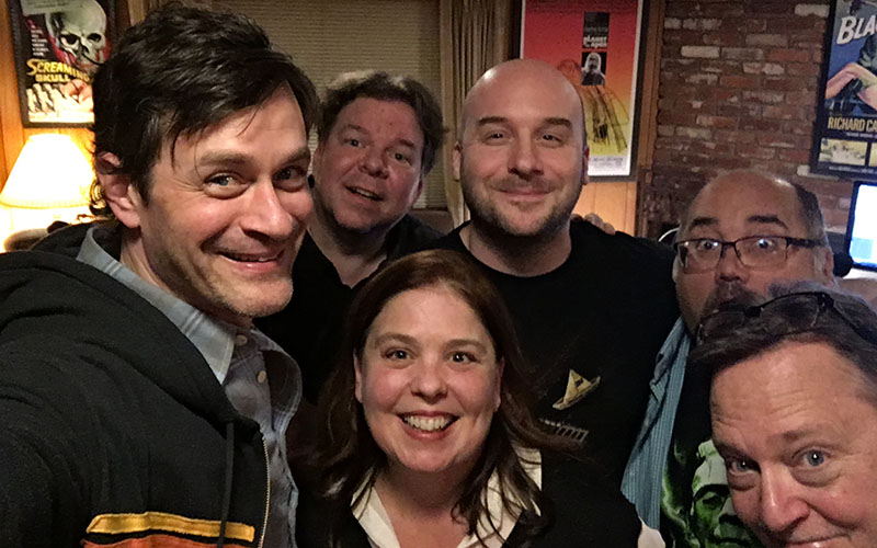 Podcast guest Tom Everett Scott hanging out with the Damn Dirty Geeks: (L to R) Scott Weitz, Trish Geiger, Jack Bennett, Frank Woodward and Frank Dietz.