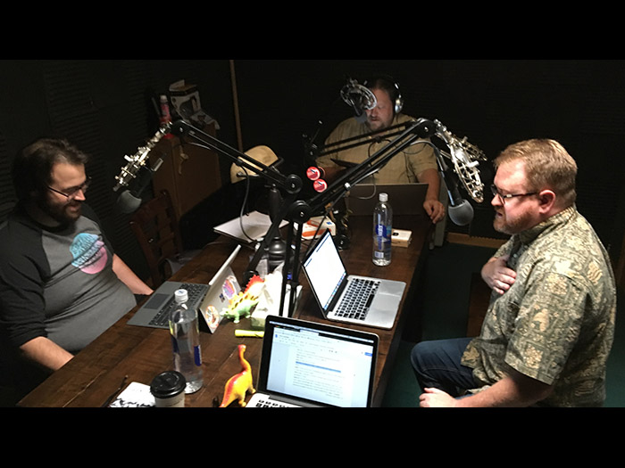 (L to R): Robb Maynard, Ron McAdams and Greg Tally record more podcast adventures for The Revival League.
