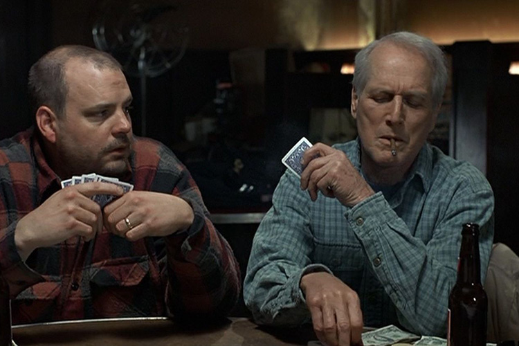 Pruitt Taylor Vince as Rub Squeers and Paul Newman as Sully in the drama NOBODY'S FOOL (1994).