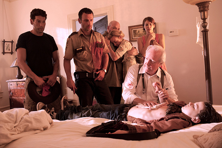 From Season 2 of THE WALKING DEAD (L to R): Jon Berenthal, Andrew LIncoln, Pruitt Taylor Vince, Jane McNeill, Lauren Cohan, Scott Wilson, Chandler Riggs.