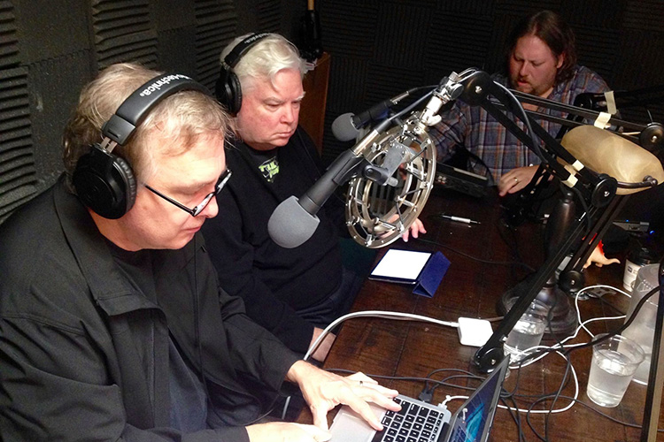 Recording WHAT ABOUR BLOB? with (L to R) Trace Beaulieu, Frank Conniff and Ron McAdams