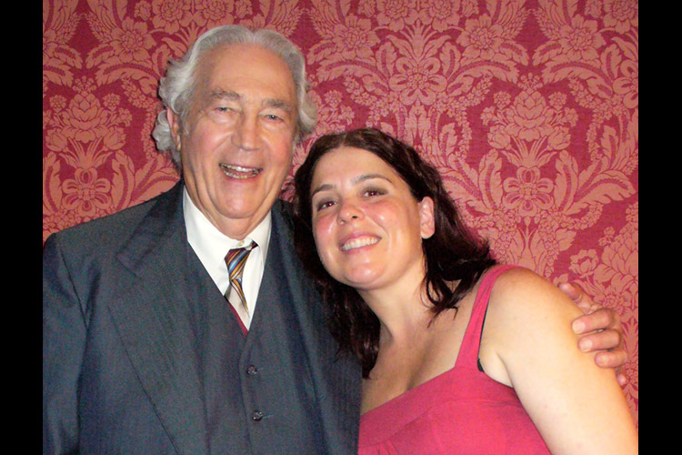 Actor James Karen and actor/producer Trish Geiger on the set of DARK AND STORMY NIGHT.