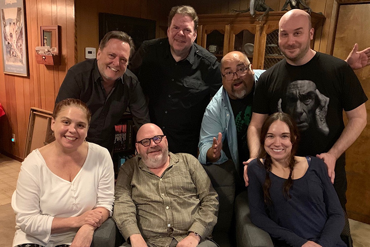 The Damn Dirty Geeks and special guests (L to R front row): Trish Geiger, Pruitt Taylor Vince, Jennifer Lynn Warren; top (L to R): Frank Dietz, Scott Weitz, Frank Woodward, Jack Bennett.