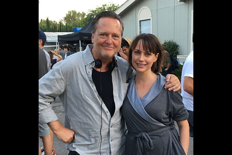 Co-writer and DDG's own Frank Dietz with actress Julie Ann Emery on the set of I HATE KIDS.