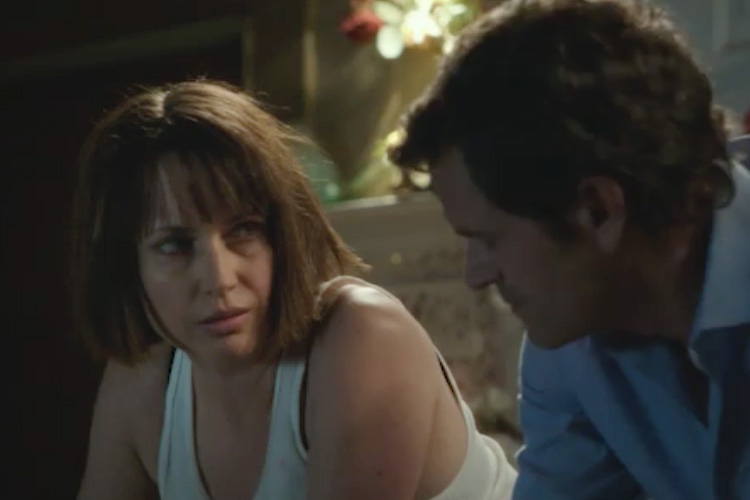 Joanna (Julie Ann Emery) confronts Nick (Tom Everett Scott) in an emotional scene from I HATE KIDS.
