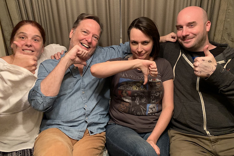 Julie Ann Emery gets 'down' with the thumbs up crew of Damn Dirty Geeks at our recent podcast recording session.
